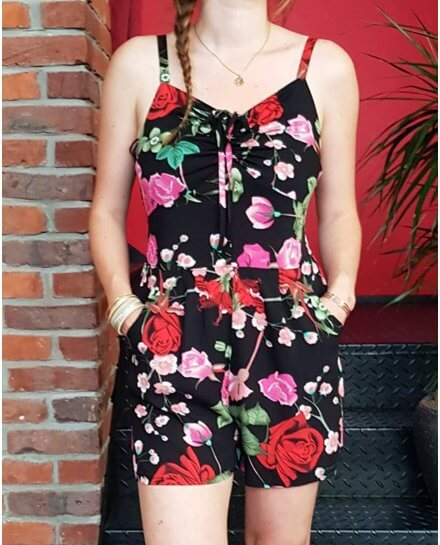 Combi-short noire fleurs rouges et roses