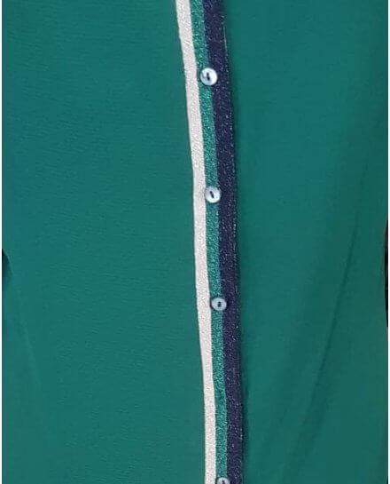 Blouse verte boutonnière dos rayures pailletés