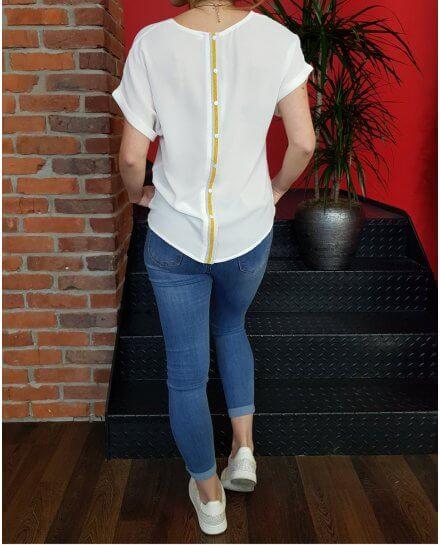 T-Shirt blanc boutonnière dos rayures argent et dorées pailletées