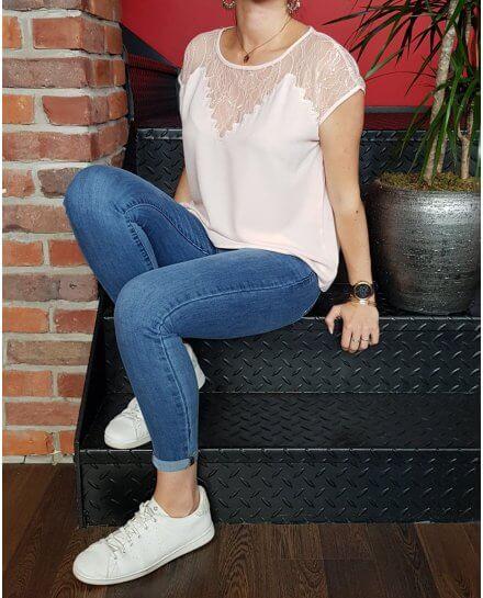 T-Shirt rose pâle décolleté dentelle ajouré Zigzag