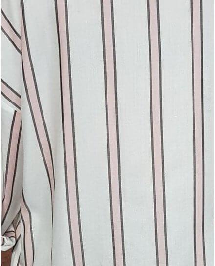 Chemise blanche rayures roses grises et liseré doré