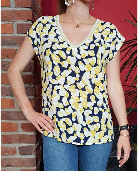 T-Shirt bleu marine motifs ronds blancs et jaunes