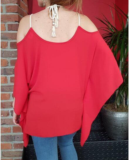 Top rouge broderies laurier et strass