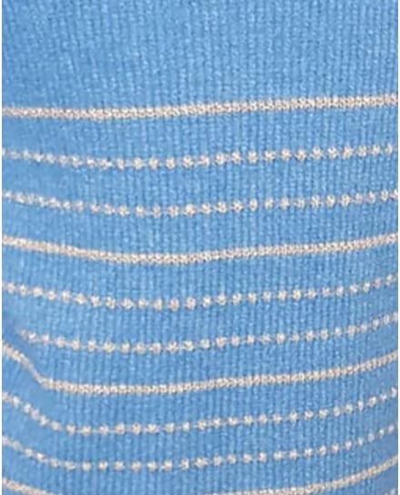 Pull bleu indigo rayures et pointillés dorés