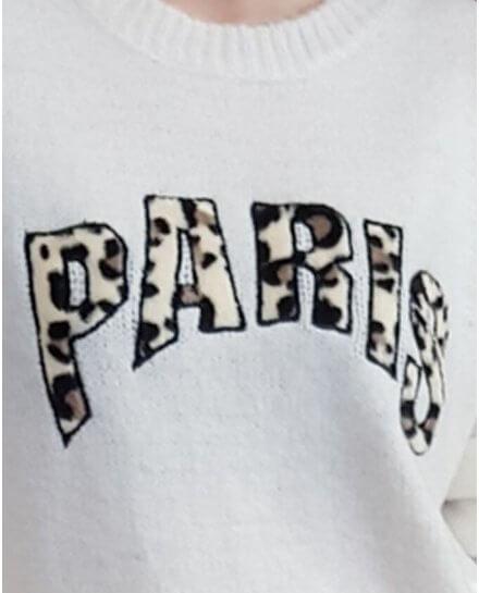 Pull blanc cassé PARIS léopard