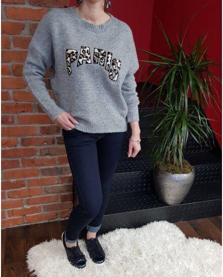 Pull gris PARIS léopard