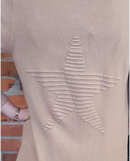 Gilet long camel étoile relief