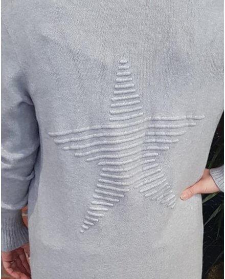 Gilet long gris clair étoile relief