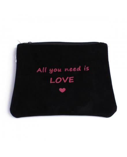 Pochette aspect daim noire All you need is love rose