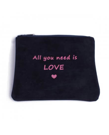 Pochette aspect daim bleue marine All you need is love rose