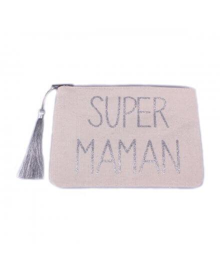 Pochette LOL beige pailletée Super Maman argent et pompon