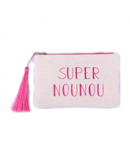 Petite pochette LOL beige pailletée Super Nounou rose fushia et pompon