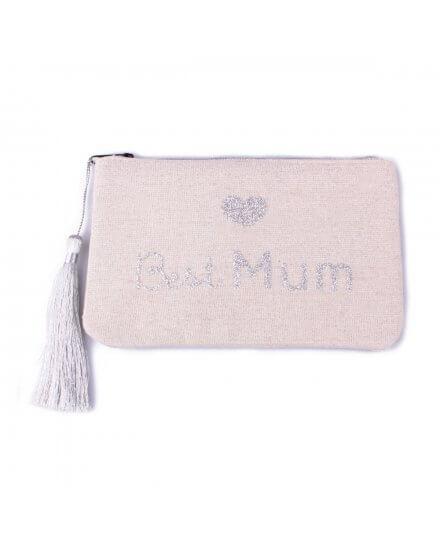Petite pochette LOL beige pailletée Best Mum argent et pompon