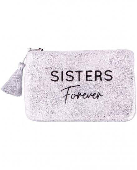 Petite pochette LOL argent pailletée Sisters Forever et pompon