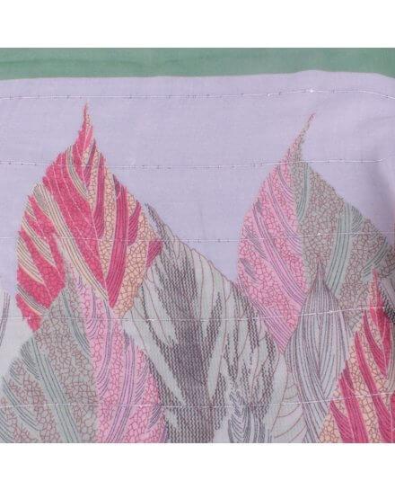Echarpe verte ribambelle de plumes roses corail et jaunes