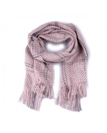 Grosse écharpe à carreaux pied de poule rose grise et argent