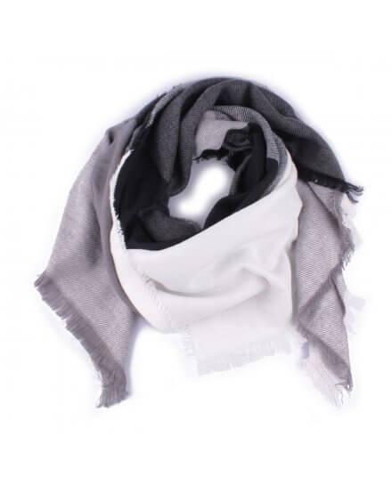 Grosse écharpe noire grise et blanche à carreaux Feutrini