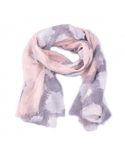 Echarpe grise losanges grunge blancs et bordure rose