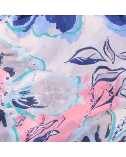 Echarpe beige fleurs de lys bleues roses grises argentées