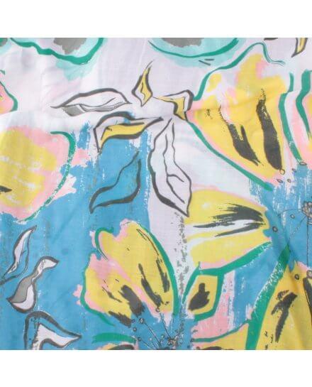 Echarpe beige fleurs de lys jaunes bleues grises roses dorées