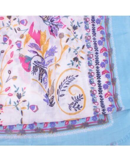 Echarpe bleue fleurs des champs roses mauves jaunes dorées