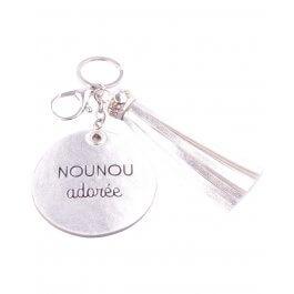 Porte-clés Nounou adorée argenté rond et pompon