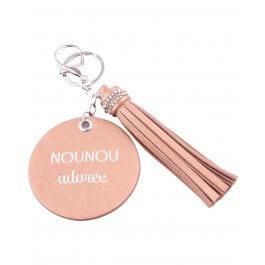 Porte-clés Nounou adorée rond et pompon-Camel