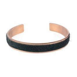 Bracelet jonc acier doré fausse fourrure verte