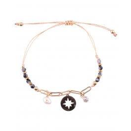 Bracelet réglable acier doré LOL chaine solaire nacre et perles-Noir