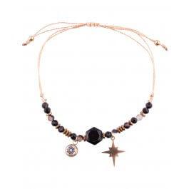 Bracelet réglable acier doré LOL étincelle strass et perles-Noir