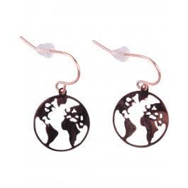 Boucles d'oreilles MILE MILA Globe terrestre acier cuivré