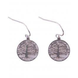 Boucles d'oreilles arbre de vie acier argent MILE MILA