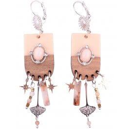 Boucles d'oreilles LOL totems bicolores roses et marrons