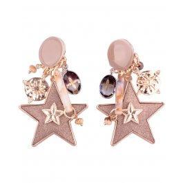 Boucles d'oreilles LOL à clips taupe étoiles suspendues