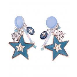 Boucles d'oreilles LOL à clips bleu canard étoiles suspendues