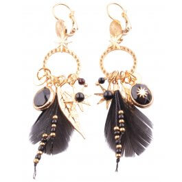 Boucles d'oreilles acier Constellaplumi-Noir
