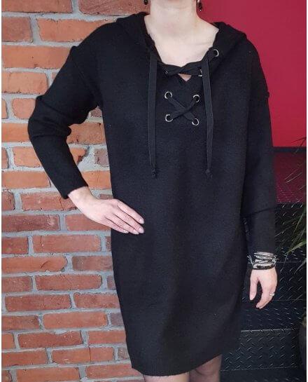 Robe noire à capuche et lacet Sportswear