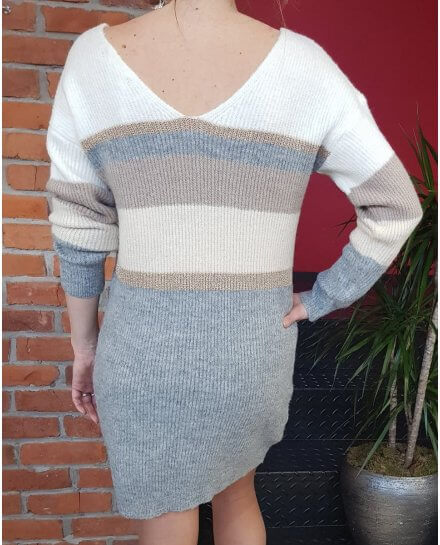 Robe pull rayée grise blanche taupe et dorée