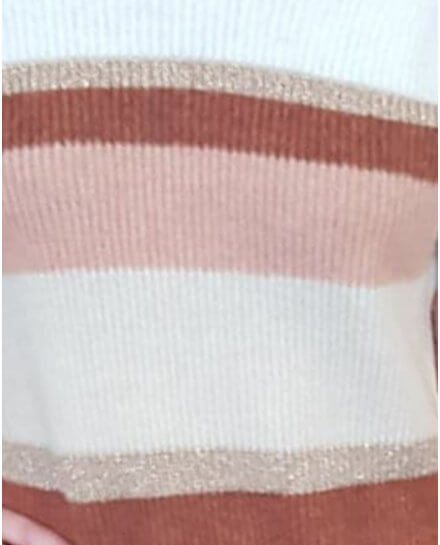 Robe pull rayée rouille blanche rose et dorée