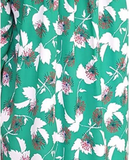 Robe chemise verte fleurs blanches marines et rouges poignets rayés