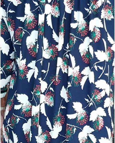 Robe chemise bleue marine fleurs blanches vertes et rouges poignets rayés