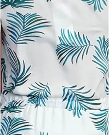 Robe blanche feuillage bleu vert col V pailleté