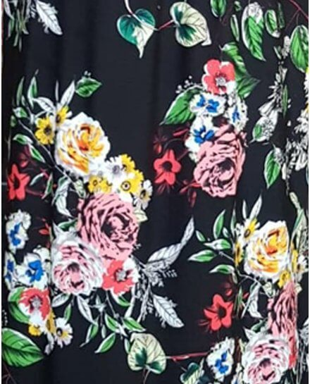Robe longue noire bouquets de fleurs multicolores