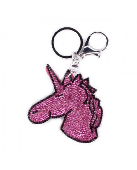 Porte-clés Licorne rose et noir à strass