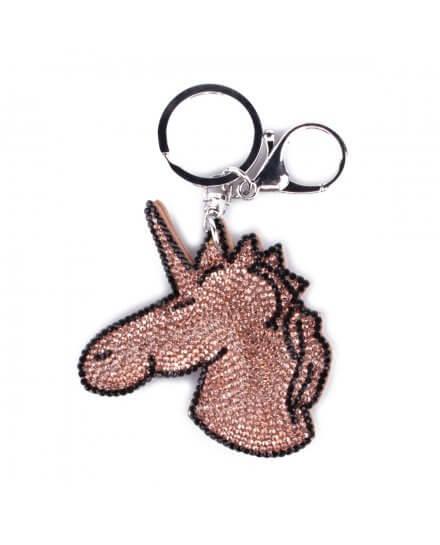 Porte-clés Licorne camel et noir à strass