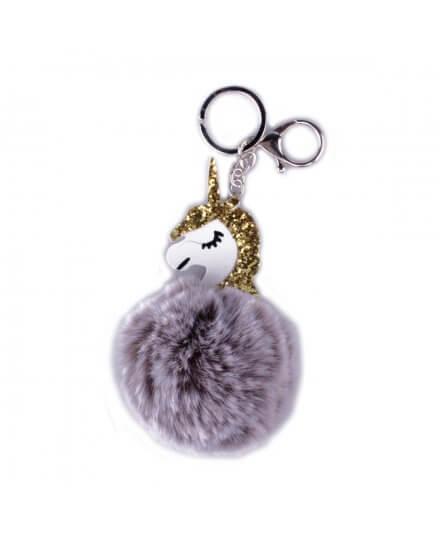 Porte-clés licorne boule de poils gris clairs