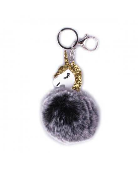 Porte-clés licorne boule de poils noirs et blancs