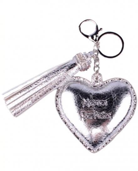 Porte-clés cœur et pompon Maman Parfaite Argent brillant
