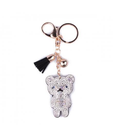 Porte-clés ourson strassé argent noir et pompon noir