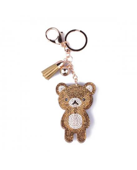 Porte-clés ourson strassé doré argent noir et pompon doré